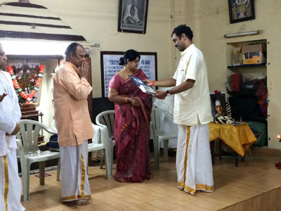 Pudokottai R. Ramanathan receives the first copy